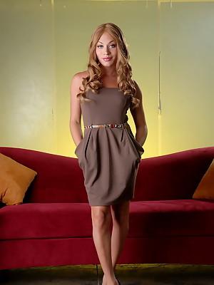 Super hot Mia Isabella posing in naughty brown dress